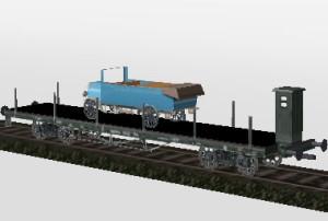 4 Achsiger Flachwagen mit Ladung