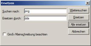 Austausch der Dateiendungen von den Texturen mittels Editor.